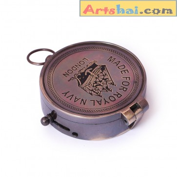 Artshai Antique style Magnetic compass with world time converter, made from brass