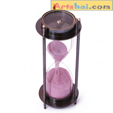 Artshai 2 side compass Hourglass with 5 minutes duration. Antique style Nautical Décor Item made from brass