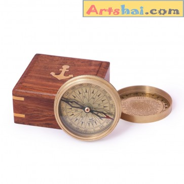 Artshai Christopher Columbus design antique style Compass with wooden box.