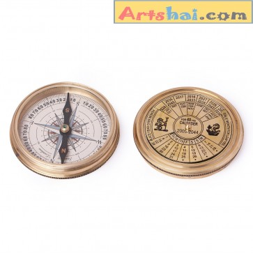 Artshai Golden Antique style Magnetic compass with 40 years Calendar