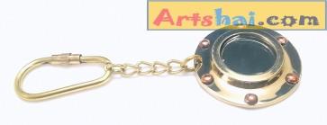Artshai Brass Round Mirror Design Keychain, Porthole mirror design