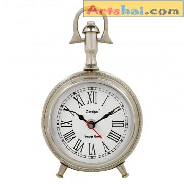 Artshai Antique Style 3 inch Metallic Look Table Clock