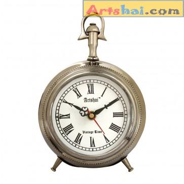 Artshai Antique Style 4 inch Metallic Look Table Clock
