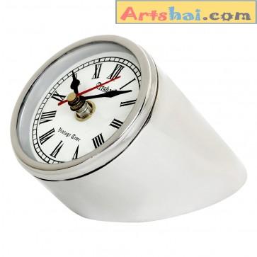 Artshai Antique Style 3 inch Round Metallic Look Table Clock Desk Decor