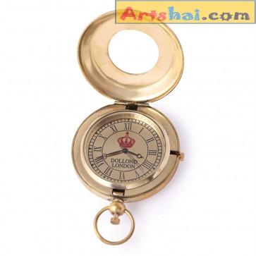 Artshai Golden Dollond London Design Push Button Pocket Watch with Leather Case