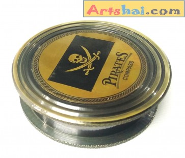Artshai Pirate based Antique look magnetic compass. Sailor Gifts based direction finder