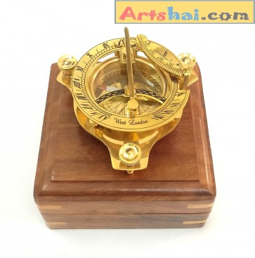 Artshai 3 inch Sundial Compass with sheesham Wooden Box Unique Gift Items