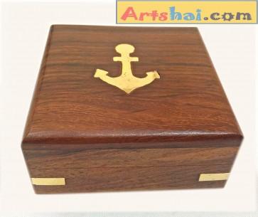 Artshai Small Wooden Jewellery/Pocket Watch Box (8.2x8.2x3.5cm)