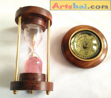 Artshai combo of 3 minute wooden hourglass and paperweight magnetic compass