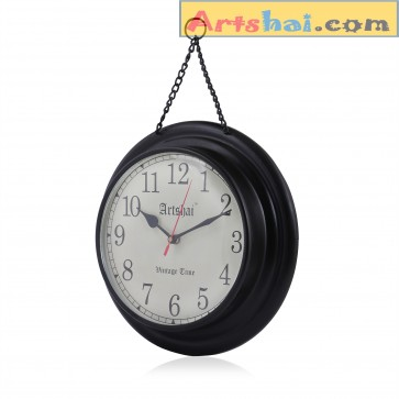 Artshai Antique Look Wall Clock Made from Metal and with Hanging Chain