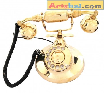 Artshai Brass Landline Telephone with Royal Dial (Golden)