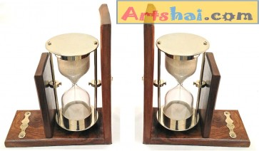 Artshai Premium Handmade Set of 2 Wooden bookends with Hourglass Sand Timer for Book Shelf