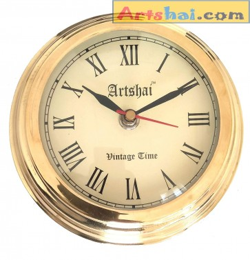 Artshai small size brass wall clock 5.75 inch diameter antique style