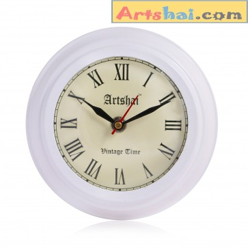 Arshai Small White Colour Antique Style Metal Wall Clock, 5.75 inch Diameter