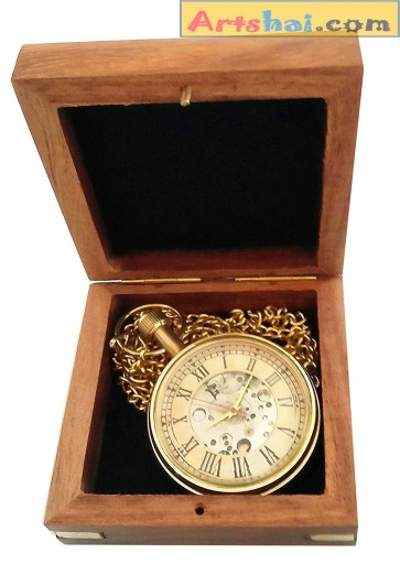 Artshai Men's Designer Analogue Off-White Mechanical Pocket Watch with Wooden Box - Artshai2805