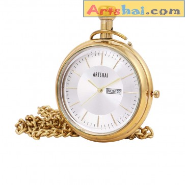 Artshai Designer Pocket Watch with Date and time Feature | Wooden Box