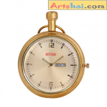 Artshai Pocket Watch with Calendar, Wooden Box and Long Chain