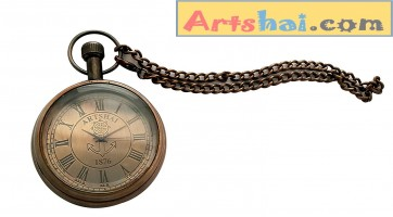 Artshai Antique Look Brass Brown Anchor Design Pocket Watch with Chain