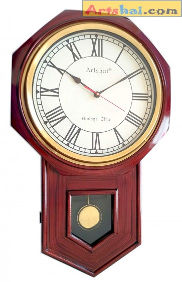 Artshai 24 inch Antique Designer Wooden Pendulum Wall Clock with 11.5 inch dial and Brass Ring