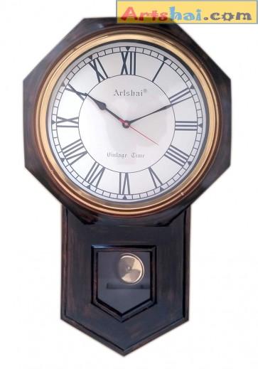 Artshai Big 24 inch Size Antique Look Pendulum Wall Clock with Brass Ring