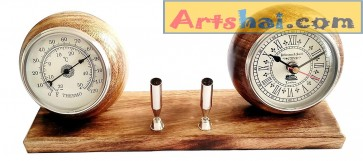 Artshai Table Clock with Weather Temperature Meter and Pen Holder Stand