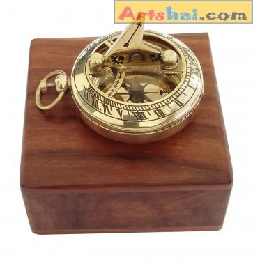 Artshai Golden 2 inch Sundial Compass with Wooden Box