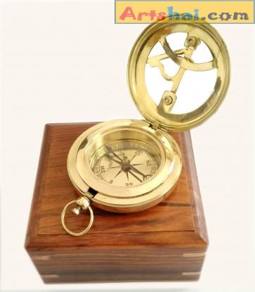 Artshai 3 inch Sundial Magnetic Compass with sheesham Wood Box