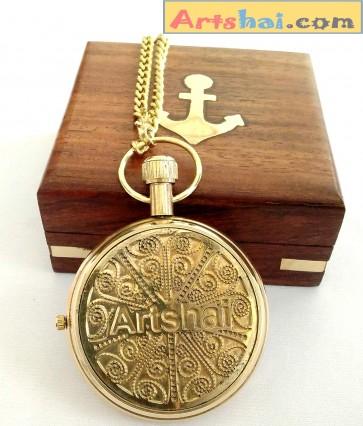 Artshai Golden Pocket Watch with Wooden Box