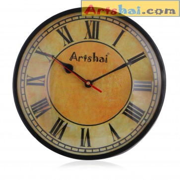 Artshai 10 inch Antique Look Round Analog Metal Wall Clock