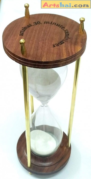 Artshai 30 Minute Hourglass Made from Brass and Wood, Antique Style Sand Timer