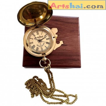 Artshai Brass Golden dial Pocket Watch with Wooden Box