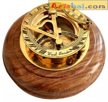 Artshai Brass Sundial Compass with sheesham Wood Base