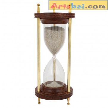 Artshai 10 Minutes Hourglass. Brass and Wooden