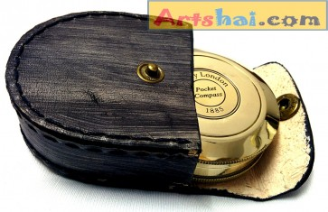 Artshai Poem magnetic compass with leather case