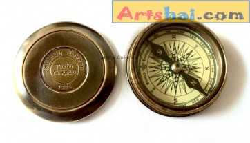 Artshai Antique look premium compass with Robert Frost Poem,Arshai870