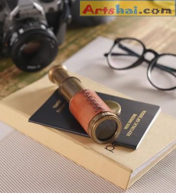 Artshai Antique look brass pocket telescope, Genuine leather bounded