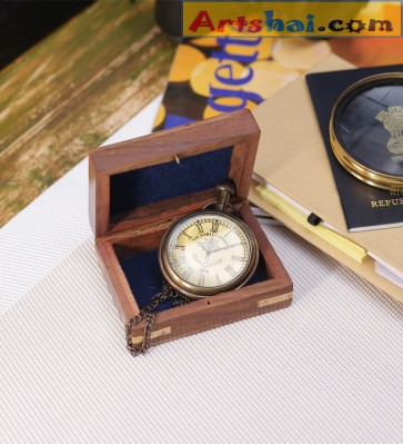 Artshai Antique look Victoria London Design Pocket watch with chain and Wooden box, Handmade, Artshai355