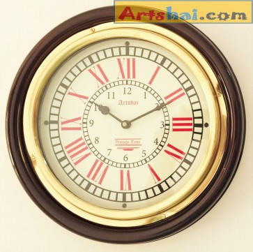 Artshai Brass and wood silent wall clock with brass ring. 12 inch size,Antique  style.
