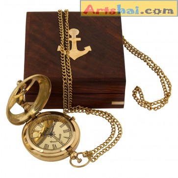 Artshai Premium Sundial design Golden Pocket Watch with chain.