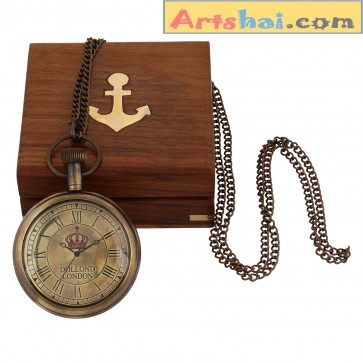 Artshai Antique Look Pocket watch with Sheesham wood box. Dollond london style.