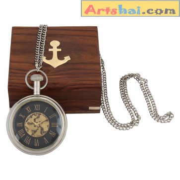 Artshai Exclusive pocket watch with chain and wooden box. Exclusive metallic look.