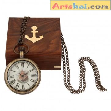 Artshai Antique look Endeavour chain watch Sheesham wood box