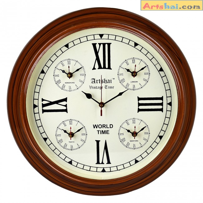 Artshai antique look wall clock with world time 5 countries timewooden gumiabroncs Gallery