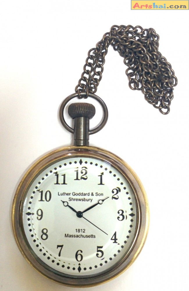 Artshai White dial pocket watch with chain. Antique style ...