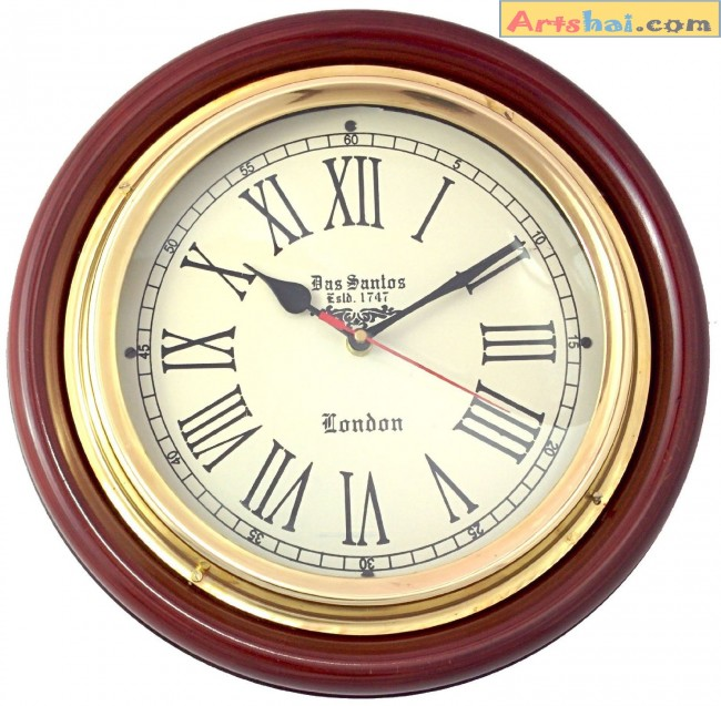 Artshai Vintage Antique Design 12 Inch Wall Clock Made From Brass