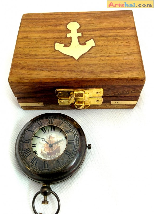 da787a413 Artshai beautiful pocket watch with chain and wooden box.Antique ...