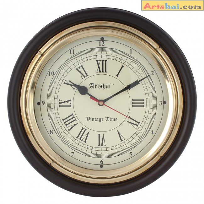 artshai antique look 12 inch beautiful wall clock brass and wooden coffee colour