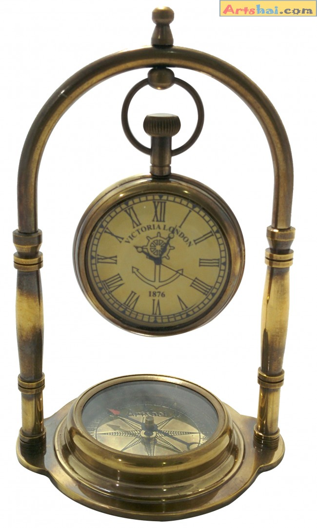 Artshai Antique Look Full Brass Table Clock With Magnetic Compass Base Unique Diwali Gift