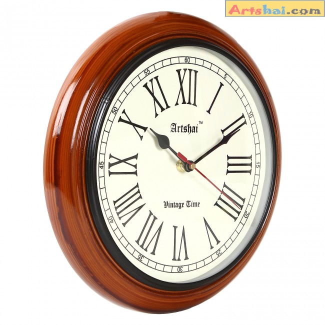 10 inch Antique look round wooden wall clockHigh quality movement