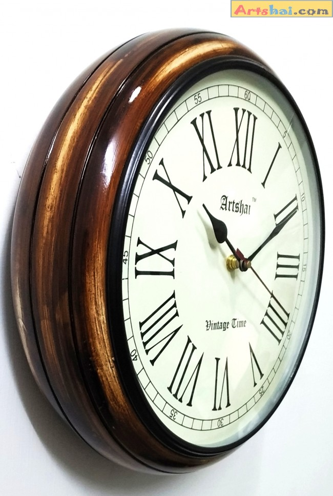 Artshai Antique Look Round 12 Inch Wall Clock With Thick